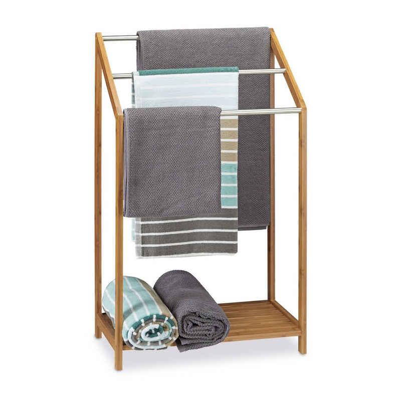 relaxdays Handtuchständer »Handtuchhalter Bambus 3-fach«