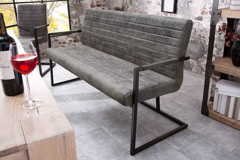 riess-ambiente Sitzbank »LOFT 160cm vintage grau«, mit Microfaser-Bezug