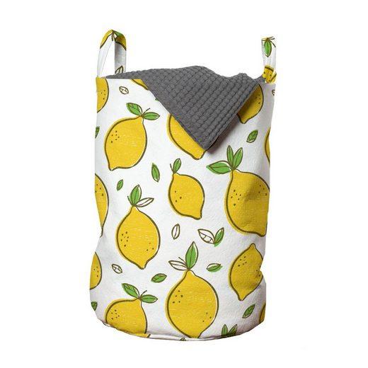 Abakuhaus Wäschesack »Wäschekorb mit Griffen Kordelzugverschluss für Waschsalons«, Zitronen Zitrusfrüchte Blätter Kunst