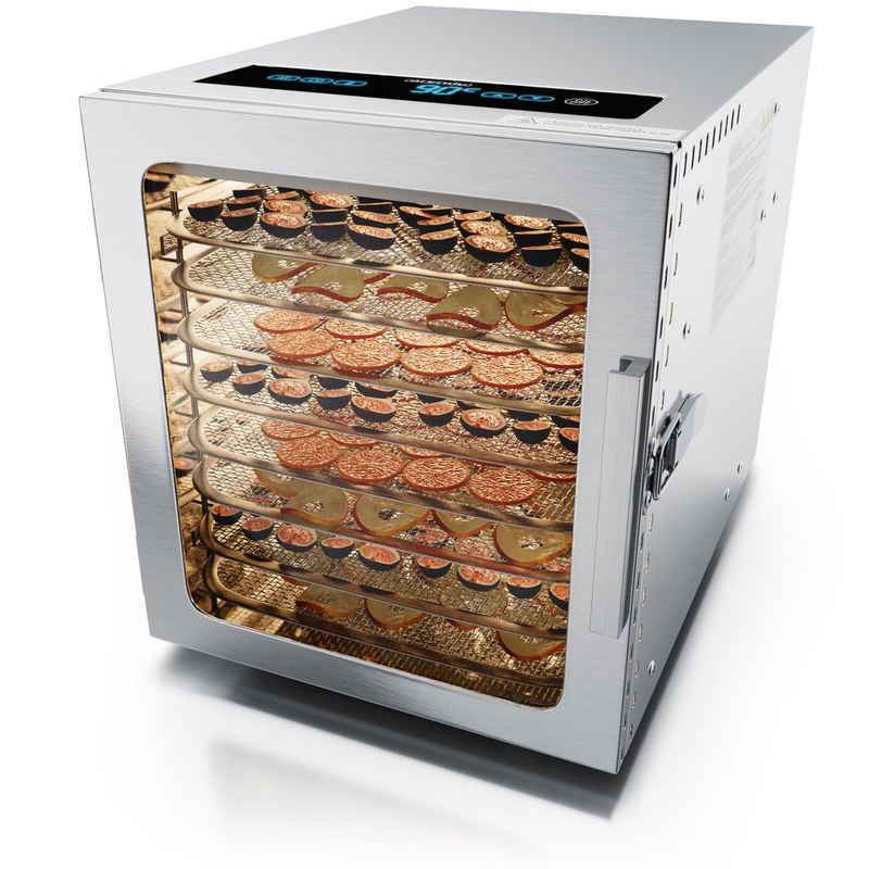 Arendo Dörrautomat 500 W, 8 Etagen, Edelstahl Dörrautomat mit Temperaturregler - Timer bis zu 24 h - Dehydrator