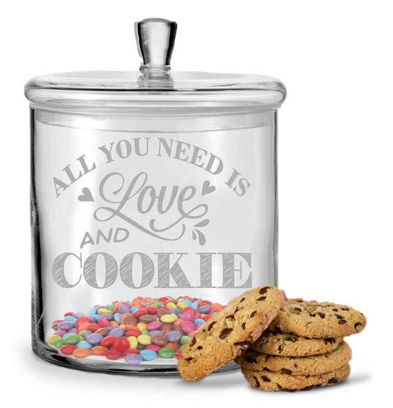 GRAVURZEILE Keksdose »Leonardo Keksglas mit Gravur All You Need is Love and Cookie für Freunde und Famile«, Glas