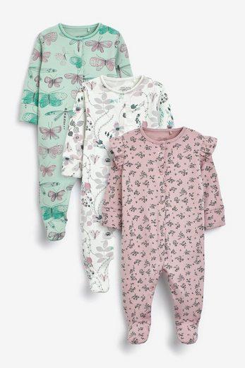 Next Schlafoverall »Schlafanzüge mit Stickereien, 3er-Pack« (3-tlg)