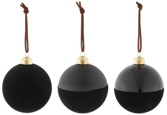 Weihnachtsbaumkugel »Ø 8 cm« (6 Stück), mit Samtdekoration
