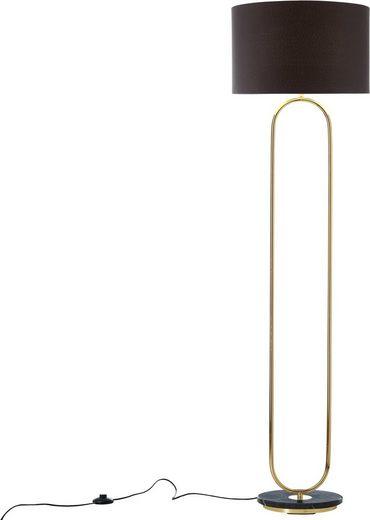 Guido Maria Kretschmer Home&Living Stehlampe »Zeria«, Fuß der Stehleuchte in Marmor-Optik, schwarzer Stoff-Schirm