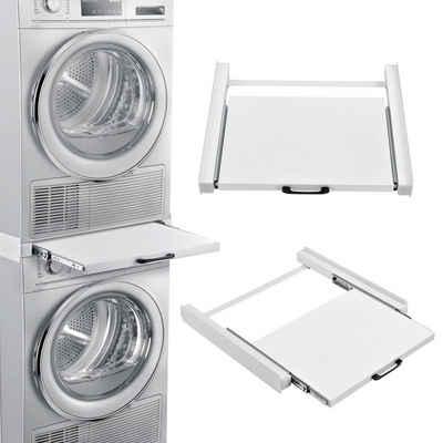 en.casa Waschmaschinenumbauschrank Verbindungsrahmen für Waschmaschinen/Trockner ausziehbar