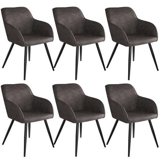 tectake Esszimmerstuhl »6er Set Stuhl Marilyn Stoff, schwarze Stuhlbeine«