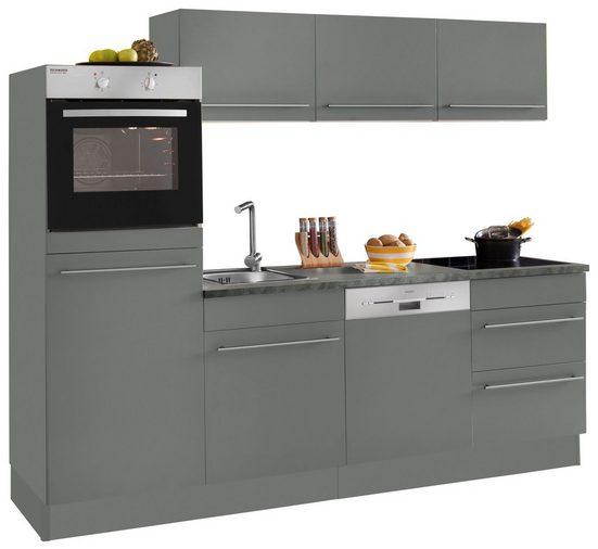 OPTIFIT Küchenzeile »Bern«, ohne E-Geräte, Breite 240 cm mit höhenverstellbaren Füßen, gedämpfte Türen und Schubkästen, Metallgriffe