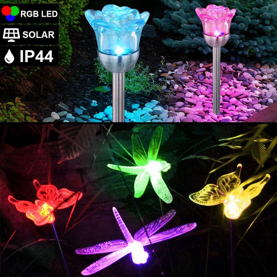 4er Set RGB LED SOLAR Erdspieß Steck Leuchten Garten Kugel Lampen Farbwechsler