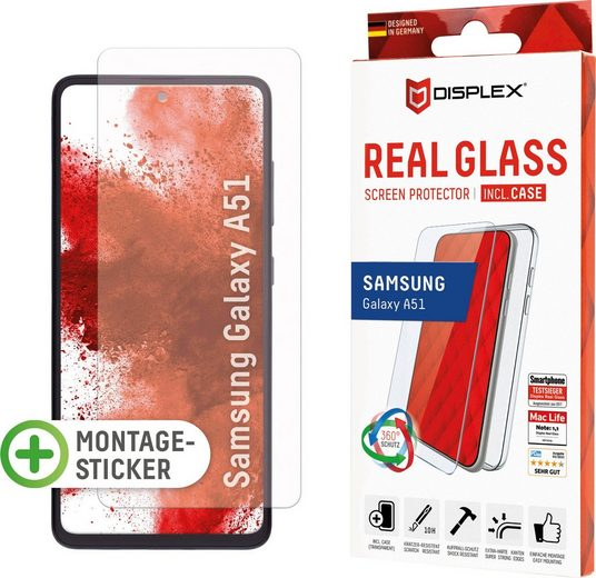 Displex »DISPLEX Real Glass Panzerglas für Samsung Galaxy A51 (6,5), 10H Tempered Glass, mit Montagesticker, 2D« für Samsung Galaxy A51, Displayschutzglas