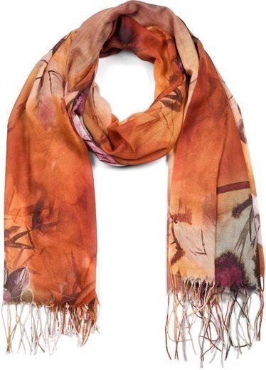 styleBREAKER Schal »Schal mit buntem Blumen Muster und Fransen« Schal mit buntem Blumen Muster und Fransen