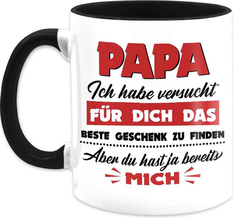 Shirtracer Tasse »Papa ich habe versucht das beste Geschenk zu finden rot - Vatertag Kaffeetasse - Tasse zweifarbig«, Keramik, Vater Geschenk Papa Teetasse