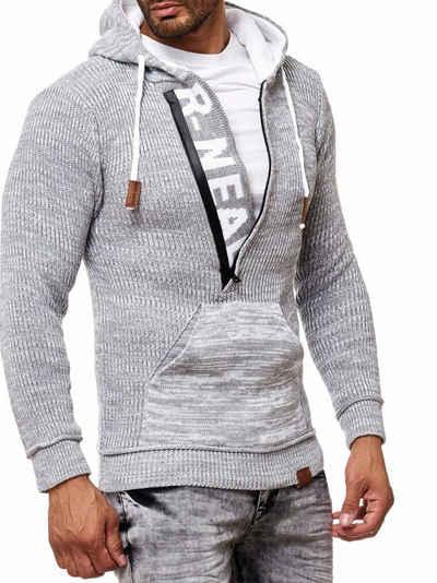 Rusty Neal Strick-Pullover schwarz Männer Strick-Sweater Kapuzen-Pullover