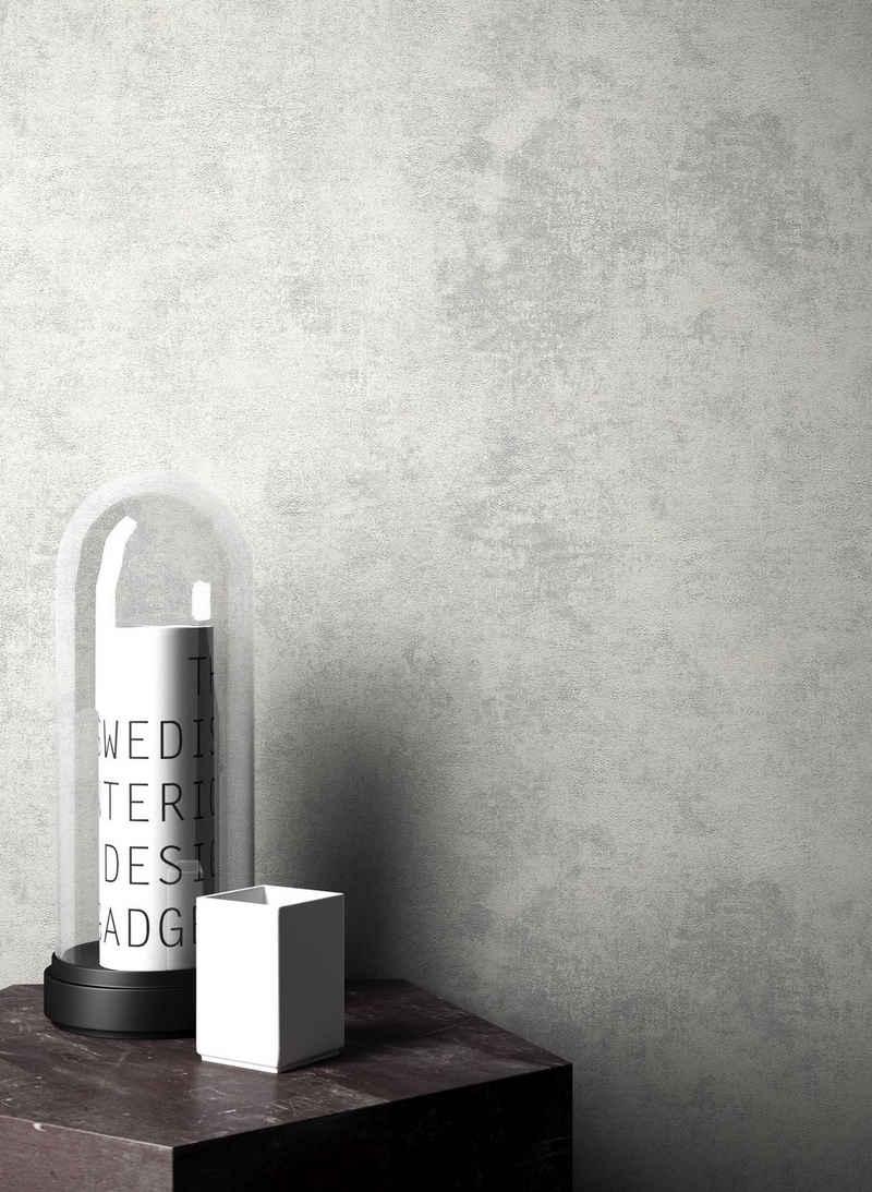 Newroom Vliestapete, Grau Tapete Leicht Glänzend Modern - Uni Einfarbig Silber Struktur Schlicht für Schlafzimmer Wohnzimmer Küche
