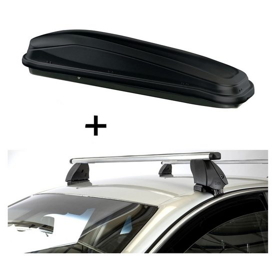 VDP Fahrradträger, Dachbox JUEASY300 300 Liter schwarz + Dachträger K1 PRO Aluminium kompatibel mit Opel Corsa (D) (3Türer) 06-10