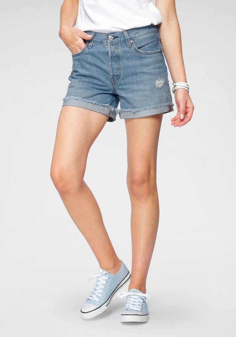 Levi's® Jeansshorts »501® Short Long« geknöpfter Verschluss und fransiger Saum