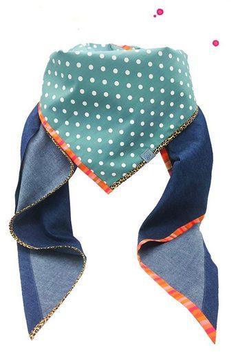 Wishproject® Dreieckstuch »Damen XXL-Tuch, Wild & Funky, Punkte & Neon« Made in Germany, Label aus recyceltem Meeresplastik, Fair Wear, hochwertige Ausführung