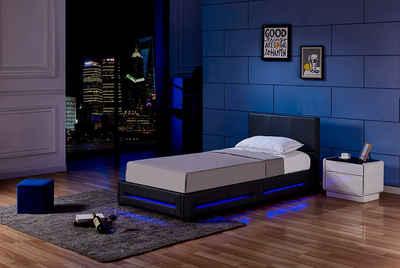 HOME DELUXE Bett »LED Bett Asteroid« (Set, 2-St., Bettkasten und Lattenrost), LED Beleuchtung, per Fernbedienung steuerbar