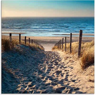Artland Glasbild »Weg zum Nordseestrand Sonnenuntergang«, Strand (1 Stück)