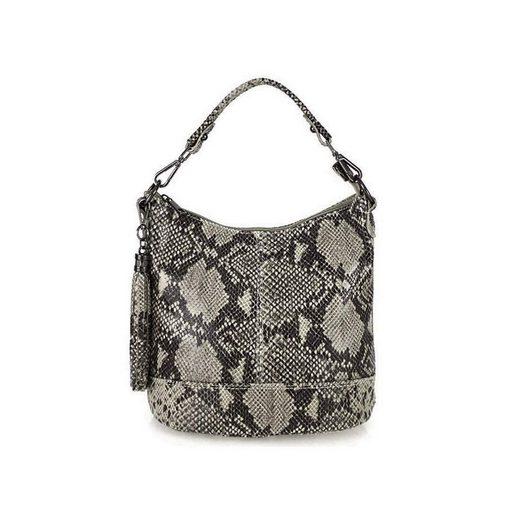 ITALYSHOP24 Schultertasche »Made in Italy Damen Leder Tasche Shopper«, mit Schlangen Muster, als CrossOver, Umhängetasche tragbar