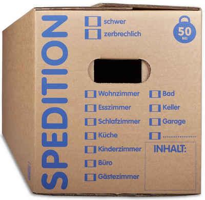 KK Verpackungen Aufbewahrungsbox (Spar-Set, 5 Stück, 5er-Set), Mehrweg-Umzugskisten 2-wellig Umzugskiste in Speditionsqualität 50kg Braun