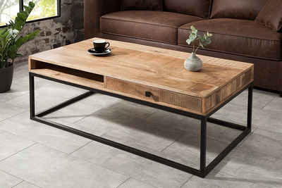 riess-ambiente Couchtisch »IRON CRAFT 100cm natur / schwarz«, Wohnzimmertisch · Massivholz · Industrial Design · mit Schublade · Mangoholz