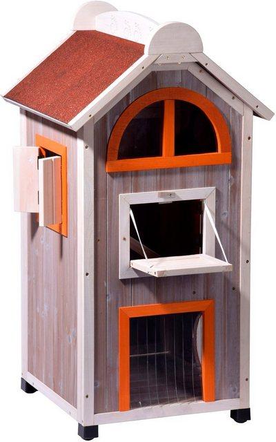 DOBAR Katzenhaus »Fancy Cat«| BxLxH: 58x55x109 cm| grau/rot/orange | Garten > Tiermöbel > Katzenkörbe | dobar
