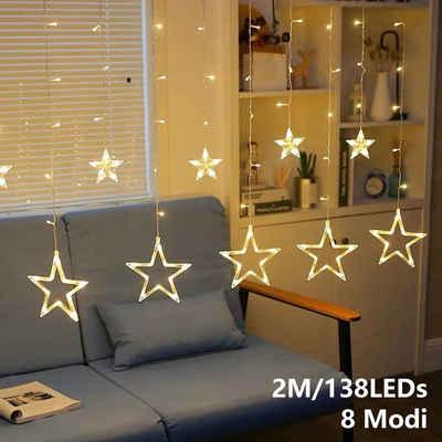 Einfeben LED-Lichterkette »2M 12 Sterne 138 LEDs LED Lichtervorhang,8 Modi,IP44 Wasserdicht,Warmweiß«, 138-flammig