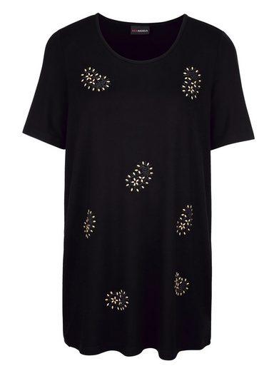 MIAMODA Longshirt mit Steinchen im Paisleydesign besetzt