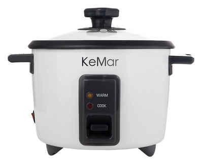 KeMar Kitchenware Reiskocher KRC-110, 500 W, Kompakter Reiskocher, 1.4 Liter, 500W, Dämpfeinsatz, Warmhaltefunktion
