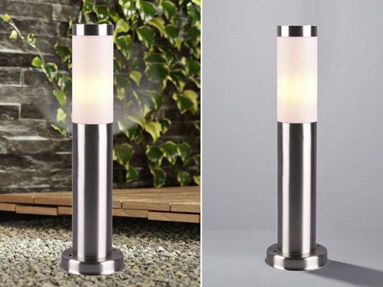 meineWunschleuchte Sockelleuchten, Außensockelleuchte 45cm Edelstahl, Außen-Wegeleuchte Gartenlampen Stehlampe rund
