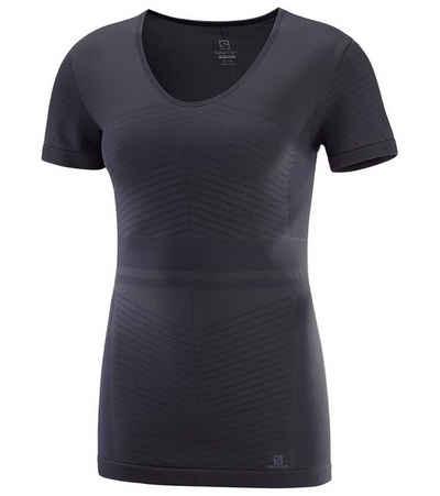 Salomon Funktionsshirt »Salomon Elevate Move On T-Shirt atmungsaktives Damen Sport-Shirt mit ActiveDry und AdvancedSkin Funktions-Shirt Graphite-Blau«