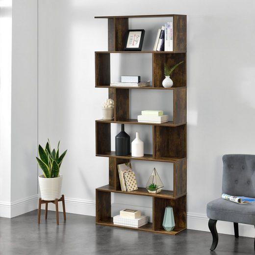 en.casa Bücherregal, »Oxford« Design Hängeregal mit 6 Ablagen Raumteiler 192x80x24cm Walnuss