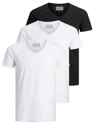 Jack & Jones T-Shirt »Basic V-Neck« (3-tlg., 3er Pack) etwas länger geschnitten, nicht zu kurz