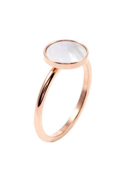 Hey Happiness Fingerring »Kreis Ring Rosegold«, Geo Edelstahl Plättchen Ring