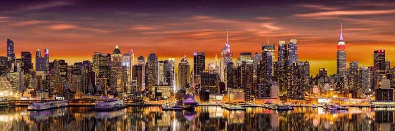 Victor (Zenith) Acrylglasbild »New York Skyline«, Dämmerung, Glasbild, Wandbild, Panormabild in Hochglanzoptik, Bilder Wohnzimmer, Amerika