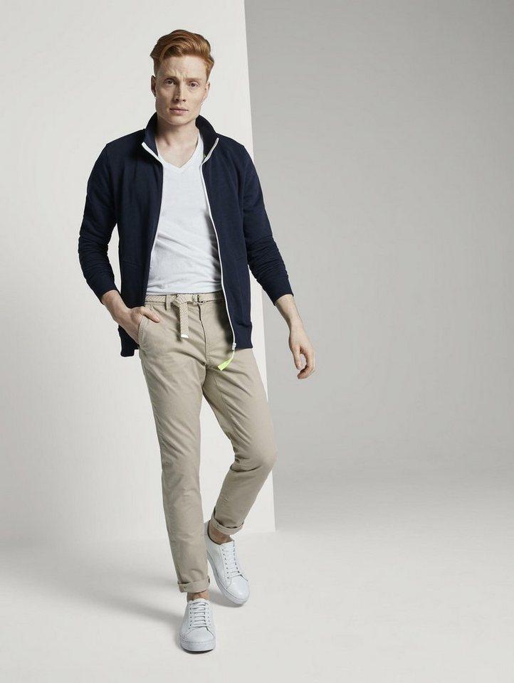 tom tailor denim -  Chinohose »Chino Slim Hose mit Gürtel und feiner Musterung«