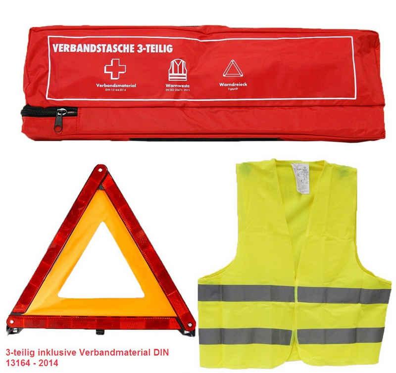 Steelboxx Arzttasche »KFZ Verbandkasten 3-teilig: Verbandtasche / Warndr« (Spar Set, 3-tlg), Kfz Sicherheitsset 3-teilig Warnweste / Warndreieck / Verbandstasche inkl. Verbandmaterial nach DIN 13164 - 2014
