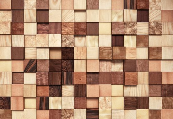 Komar Fototapete »Lumbercheck«, glatt, bedruckt, Wald, geblümt, (Set), ausgezeichnet lichtbeständig