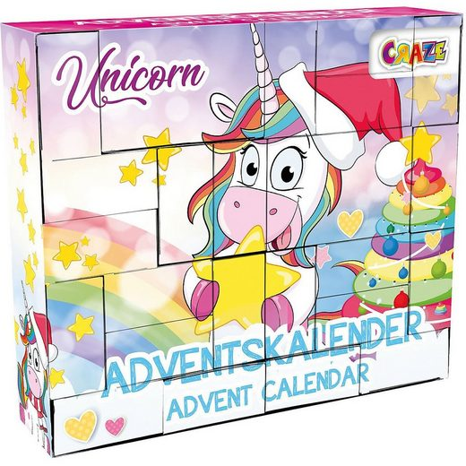 CRAZE Wandkalender »DIY Adventskalender Unicorn 33 x 29,5 x 7,6cm«