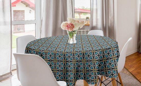 Abakuhaus Tischdecke »Kreis Tischdecke Abdeckung für Esszimmer Küche Dekoration«, Retro Abstrakte Blumenmosaik