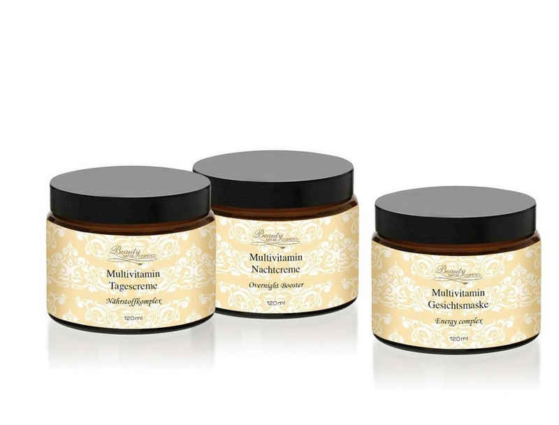 Beauty Nature Cosmetics Gesichtspflege-Set »Multivitamin Gesichtspflege Set«, Vitaminreiches, sehr pflegendes Gesichtsset 3 x120ml