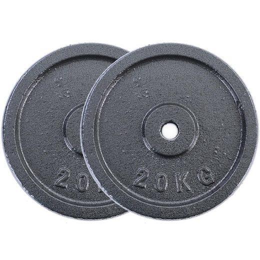 RAMROXX Hantelscheiben »40 kg Hantelscheiben Set 2x20 kg Gusseisen Hantel Gewicht versiegelt 30mm«, 40,00 kg, Material: Gusseisen