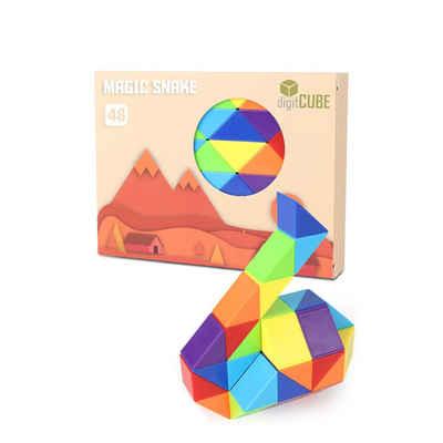 digitCUBE 3D-Puzzle »Magic Snake Knobelspiel - magische Schlange mit 48 Regenbogen Puzzle Blöcke bunt«, 48 Puzzleteile