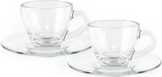 BIALETTI Cappuccinotasse, Glas, 2 Tassen, 2 Untertassen