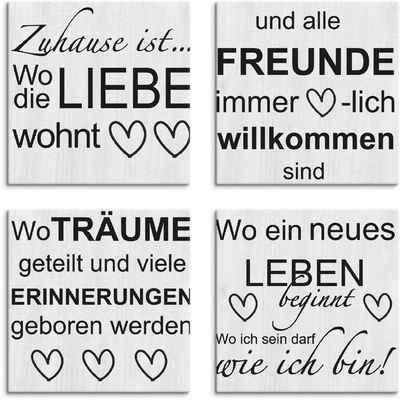 Artland Leinwandbild »Wo die Liebe wohnt 1-4«, Sprüche & Texte (4 Stück)