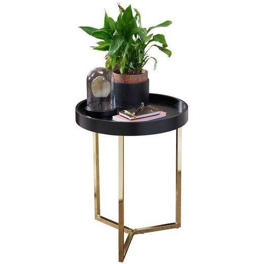 FINEBUY Tabletttisch »FB49719«, Design Beistelltisch EVI 40 x 51 x 40 cm Couchtisch rund schwarz / Gold Designer Wohnzimmertisch modern Kleiner Sofatisch mit Metallgestell Runder Tabletttisch mit Holz-Platte