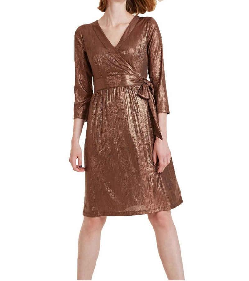 Ashley Brooke by heine Cocktailkleid »ashley brooke Kleid Cocktail-Kleid glänzendes Damen 3/4-Arm-Kleid in Wickel-Optik Abend-Kleid Bronze«