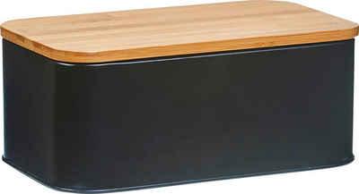 Zeller Present Brotkasten, Metall, Bambus, (1-tlg), Länge ca. 31 cm, schwarz