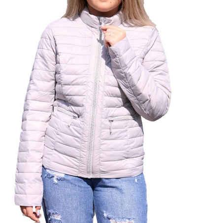 Melrose Steppjacke »melrose Herbst-Jacke gesteppte Damen Übergangs-Jacke mit Schmucksteinchen Freizeit-Jacke Grau«