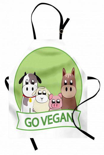 Abakuhaus Kochschürze »Höhenverstellbar Klare Farben ohne verblassen«, Vegetarier Go Vegan Slogan Tiere